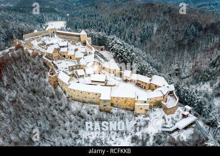 Rasnov peasant fortress in Rasnov city near Bran and Brasov in Transylvania, Romania - Stock Photo