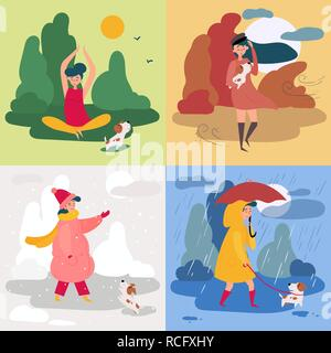 A girl and four seasons and weather. Snowy, rainy - Stock Photo