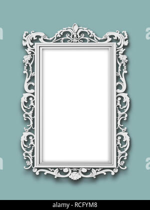 Silver Baroque blank picture frame on aqua wall - Stock Photo