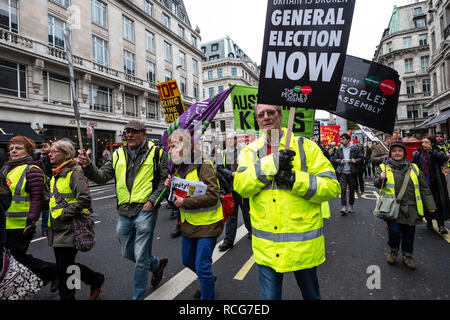 Britain is Broken anti-Brexit march organised by Peoples Assembly marched through London demanding a general election. Protesting against UK government and an end to racism and austerity. Jan 12the 2019 - Stock Photo