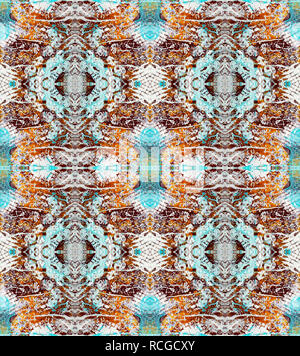 Symmetric abstract textural pattern. Seamless pattern. Based on Scrapbook Mixed Media Page. Texture, paint, gauze - Stock Photo