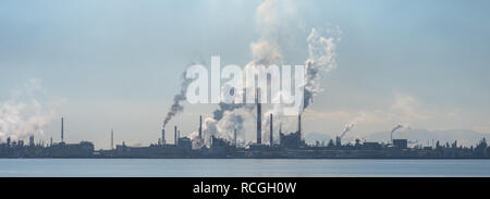 Air pollution of industry. Environmental pollution. Ecology concept. - Stock Photo