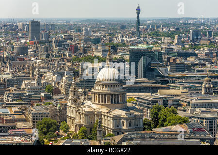 Aerial view of St Paul's Cathedral, Fitzrovia and the BT tower from the viewing platform of the Skygarden, London, England. - Stock Photo
