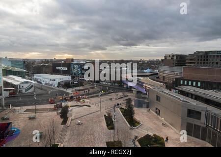 Ariel view from Westfield London Shopping Centre looking at pedestrian entrance, Television Centre and Wood Lane station,  White City, London - Stock Photo