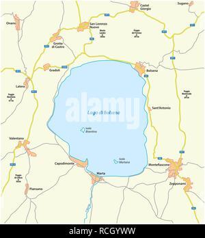 Map of the central Italian Lake Bolsena, Lazio, Italy - Stock Photo