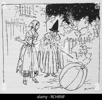 Cinderella and the Fairy Godmother with the pumpkin. The Arthur Rackham Fairy Book, etc. London : G. G. Harrap & Co., 1933. Source: 12403.bb.17 p. 225. - Stock Photo