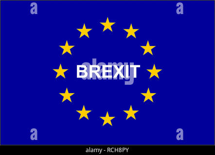 Illustration of the European flag with the mention BREXIT - Stock Photo