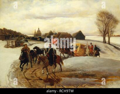 The Spring Pilgrimage of the Tsarina at the Time of Tsar Alexis I Mikhailovich. Museum: State Tretyakov Gallery, Moscow. Author: Schwarz, Vyacheslav Grigoryevich. - Stock Photo