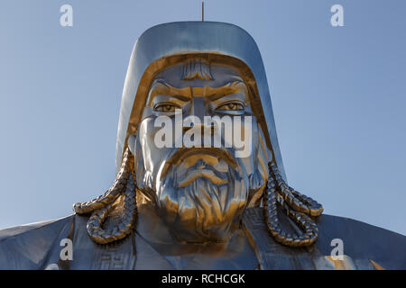 TSONJIN BOLDOG, MONGOLIA - September 14, 2018: The giant Genghis Khan Equestrian Statue. Head of Genghis Khan close-up. - Stock Photo
