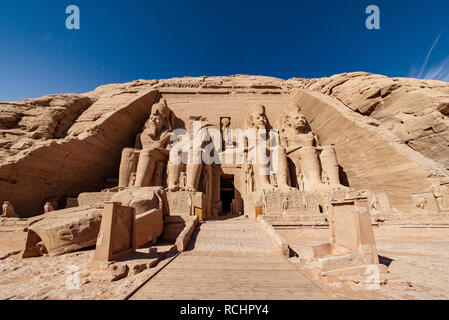 Abu Simbel temples the two massive rock temples at Abu Simbel village in Nubia southern Egypt - Stock Photo