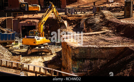 Hydraulic Excavator or wheel backhoe working in mining industry - Stock Photo
