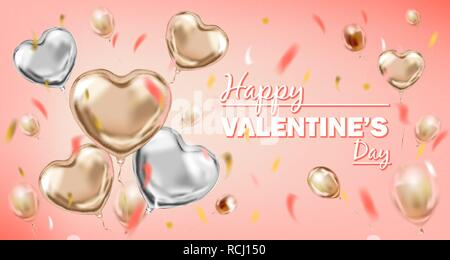 Pink and Silver Foil Heart Shape Balloons and Happy Valentines Day Lettering - Stock Photo