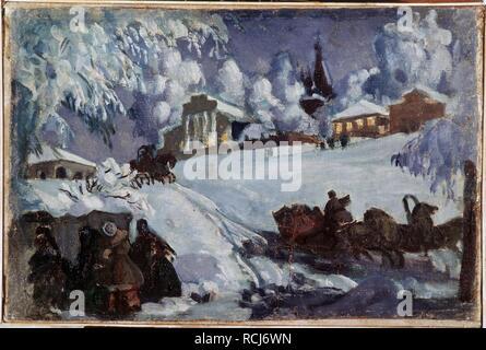 Winter. Sleigh Ride. Museum: PRIVATE COLLECTION. Author: Kustodiev, Boris Michaylovich. - Stock Photo