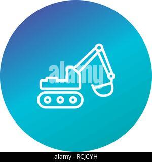 Vector Excavator Icon - Stock Photo