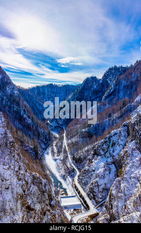 Landscape with dam lake Vidraru, in Romania - Stock Photo