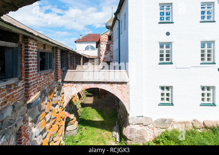 SOLOVKI, REPUBLIC OF KARELIA, RUSSIA - JUNE 27, 2018: In the Spaso-Preobrazhensky Solovetsky Monastery. Russia, Arkhangelsk region, Primorsky district - Stock Photo