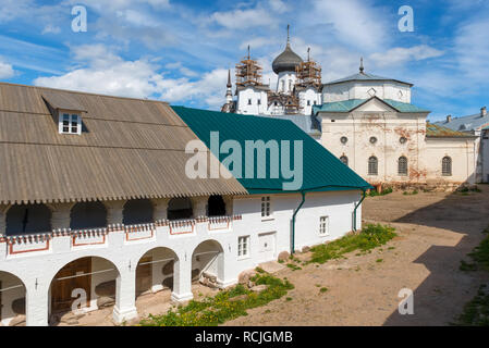 SOLOVKI, REPUBLIC OF KARELIA, RUSSIA - JUNE 27, 2018: View of the mill and the church of Philip In the Spaso-Preobrazhensky Solovetsky Monastery. Russ - Stock Photo