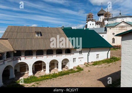 SOLOVKI, REPUBLIC OF KARELIA, RUSSIA - JUNE 27, 2018: View of the mill  In the Spaso-Preobrazhensky Solovetsky Monastery. Russia, Arkhangelsk region,  - Stock Photo