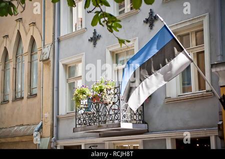 Estonian Flag on a Building in Tallinn - Stock Photo