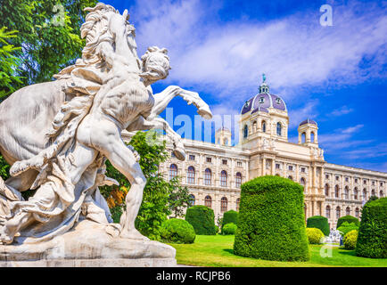 Vienna, Austria. Beautiful view of famous Naturhistorisches Museum (Natural History Museum) with park Maria-Theresien-Platz and sculpture in Vienna, A - Stock Photo