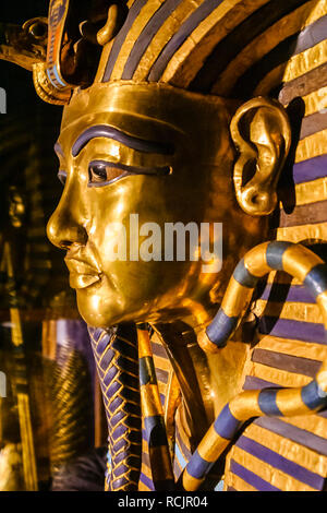 Iconic gold funerary mask of the Boy King from the tomb of Tutankhamun on display in the Museum of Egyptian Antiquities (Cairo Museum), Cairo, Egypt - Stock Photo