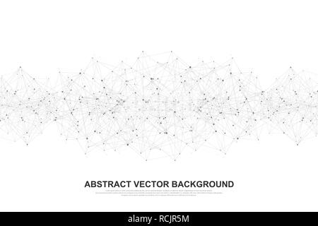 Abstract polygonal background with connected lines and dots. Minimal geometric pattern, molecular texture. Graphic plexus background. Science, medicine, technology concept. Vector illustration. - Stock Photo