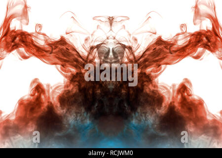 Mystical ghostly smoke pattern on a white background depicting several abstract images - the head of the alien from a horror movie. - Stock Photo