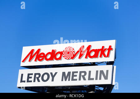 Gdansk, Poland - July 25, 2016: Logo of Media Markt - European consumer electronic retailer and Leroy Merlin - French home improvement and gardening r - Stock Photo