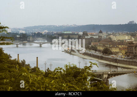 PRAGUE CZECH REPUBLIC bridges over river Vltava as seen from Letna - Stock Photo
