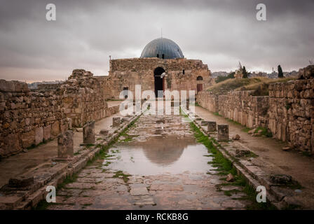 View of the monumental gateway of the Umayyad Palace in the Amman Citadel, Jordan, Middle East - Stock Photo