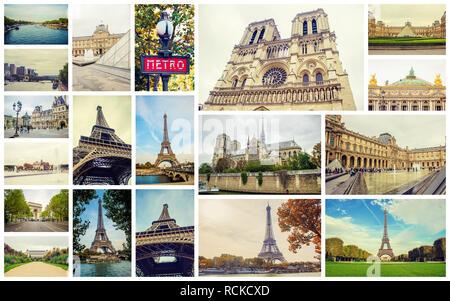 Collage France Paris. Selective focus. nature city. - Stock Photo