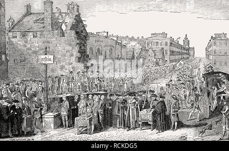 The foundation stone was laid in 1789, University, Edinburgh, Scotland, 19th century, - Stock Photo