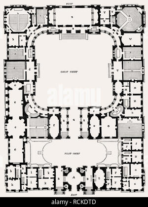 General plan, University, Edinburgh, Scotland, 19th century, - Stock Photo