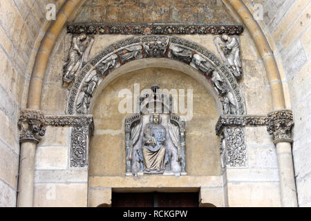 Reims, France. Details of the Cathedral of Our Lady (Cathedrale Notre Dame), a major High Gothic building and landmark in the French city of Reims - Stock Photo