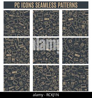 Set seamless patterns from computer and gadget icons of thin lines, vector illustration. - Stock Photo