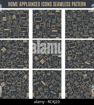 Set seamless patterns from household appliances icons of thin lines, vector illustration. - Stock Photo