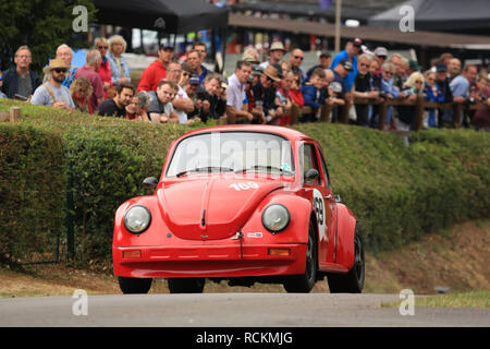 A red Porsche powered 1973 Volkswagen Beetle 1303 at Shelsley Walsh hillclimb, Worcestershire, England, UK. - Stock Photo