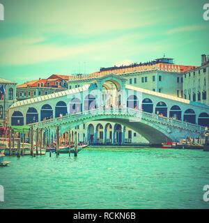 The Rialto bridge in Venice, Italy, Retro style toned image - Stock Photo