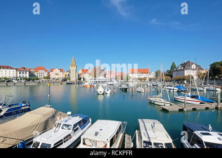 Lindau harbor and cityscape in summer, Germany - Stock Photo