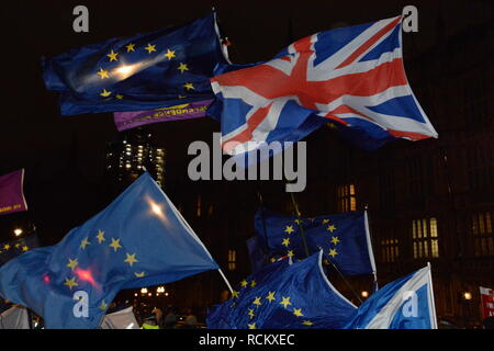 Night of the Meaningful Vote in Parliament 15th January 2019. - Stock Photo