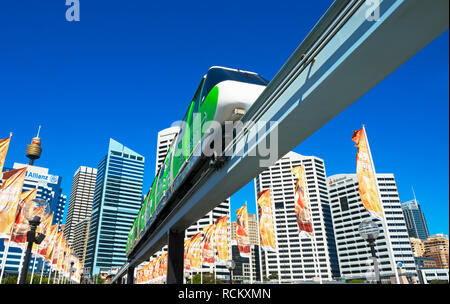 Monorail, Darling Harbour, Sydney, New South Wales, Australia, - Stock Photo
