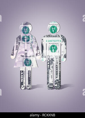 US dollar banknotes in shape of man and woman standing side by side, computer generated image, grey background - Stock Photo