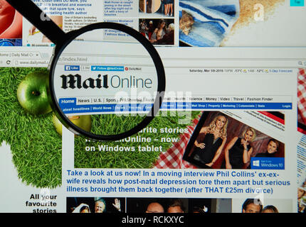 MONTREAL, CANADA - MARCH 20, 2016 - MailOnline web page under magnifying glass. MailOnline is the website of the Daily Mail, a tabloid newspaper in th - Stock Photo
