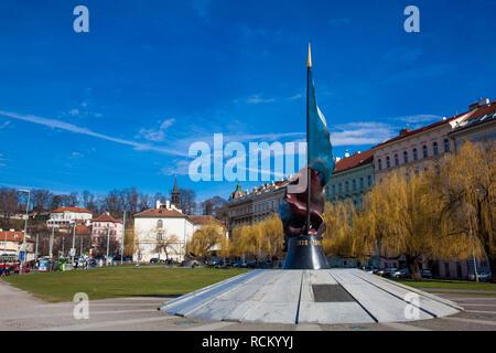 PRAGUE, CZECH REPUBLIC - APRIL, 2018: Monument to fallen soldiers during World War II in Prague - Stock Photo