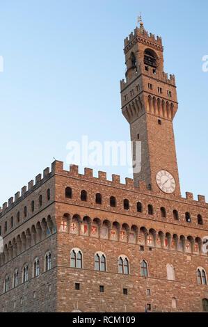 General view of Palazzo Vecchio, Piazza della Signoria, Florence, Italy - Stock Photo