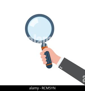 Human hand holding magnifying glass. Vector illustration. Concept of analysis, exploration or zoom - Stock Photo