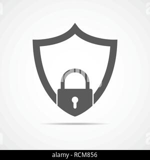 Security shield with padlock icon in flat design. Vector illustration. Web security icon isolated. - Stock Photo