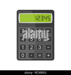 Calculator in flat design. Vector illustration. Colored calculator icon, isolated on white background. - Stock Photo