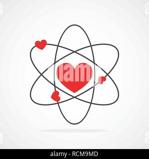 Atom with electrons in heart shape in flat design. Vector illustration. Symbol of the molecule or atom, isolated. - Stock Photo