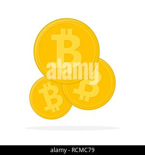 Golden Bitcoin currency. Vector illustration. Bitcoin as cryptocurrency symbol, isolated on white background - Stock Photo